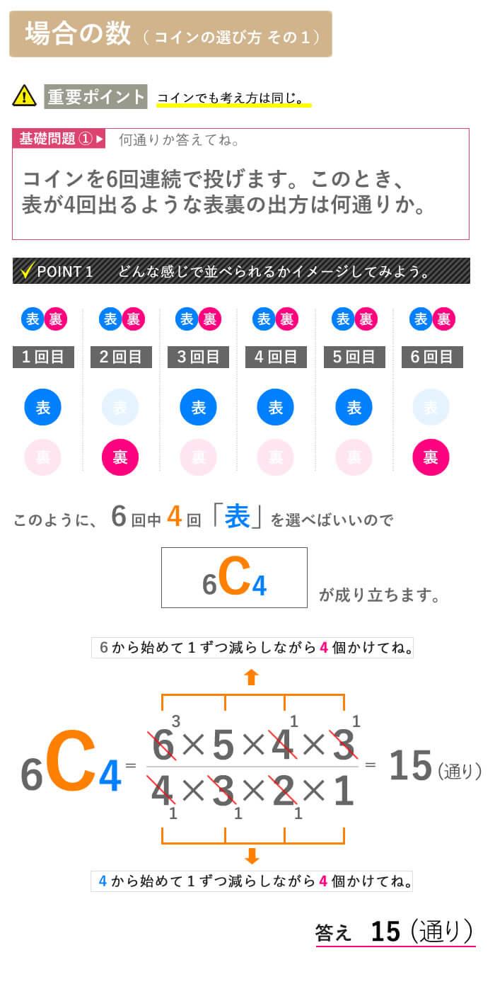 看護予備校大阪KAZアカデミーの場合の数、【場合の数 コインの表裏】画像