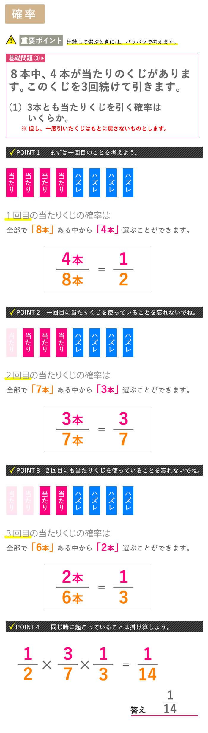 看護予備校大阪KAZアカデミーの場合の数、【確率 その3】画像
