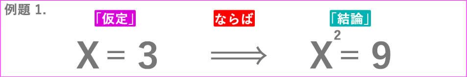 例題 1.X=3ならばX^2=9