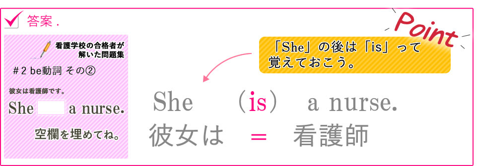 She (is) a nurse.彼女は  =  看護師